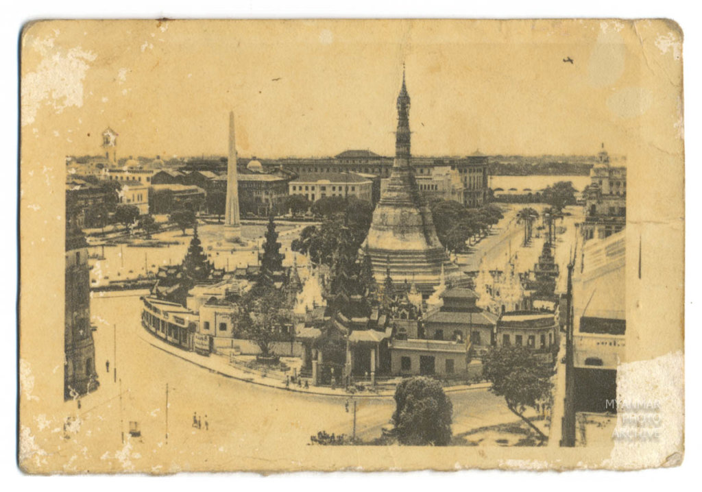 1920s, 1930s, Architecture, Myanmar, buddhism, building, construction, downtown, house, manmade, street, structure, sule pagoda, tempel